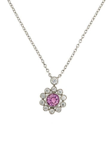 tiffany amp co pink sapphire amp diamond pendant necklace