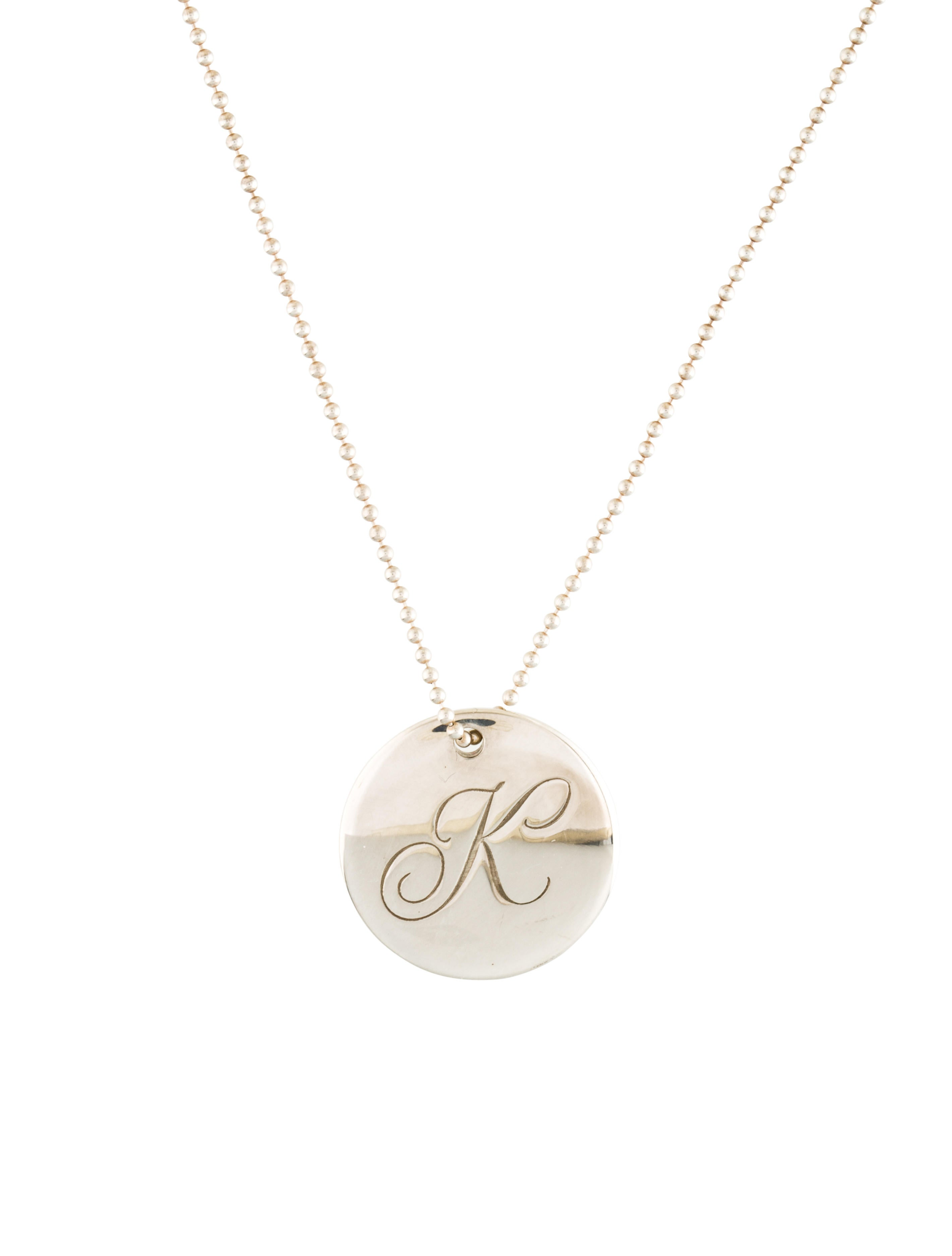 tiffany co tiffany notes letter 39k39 round pendant With tiffany necklace letter pendant