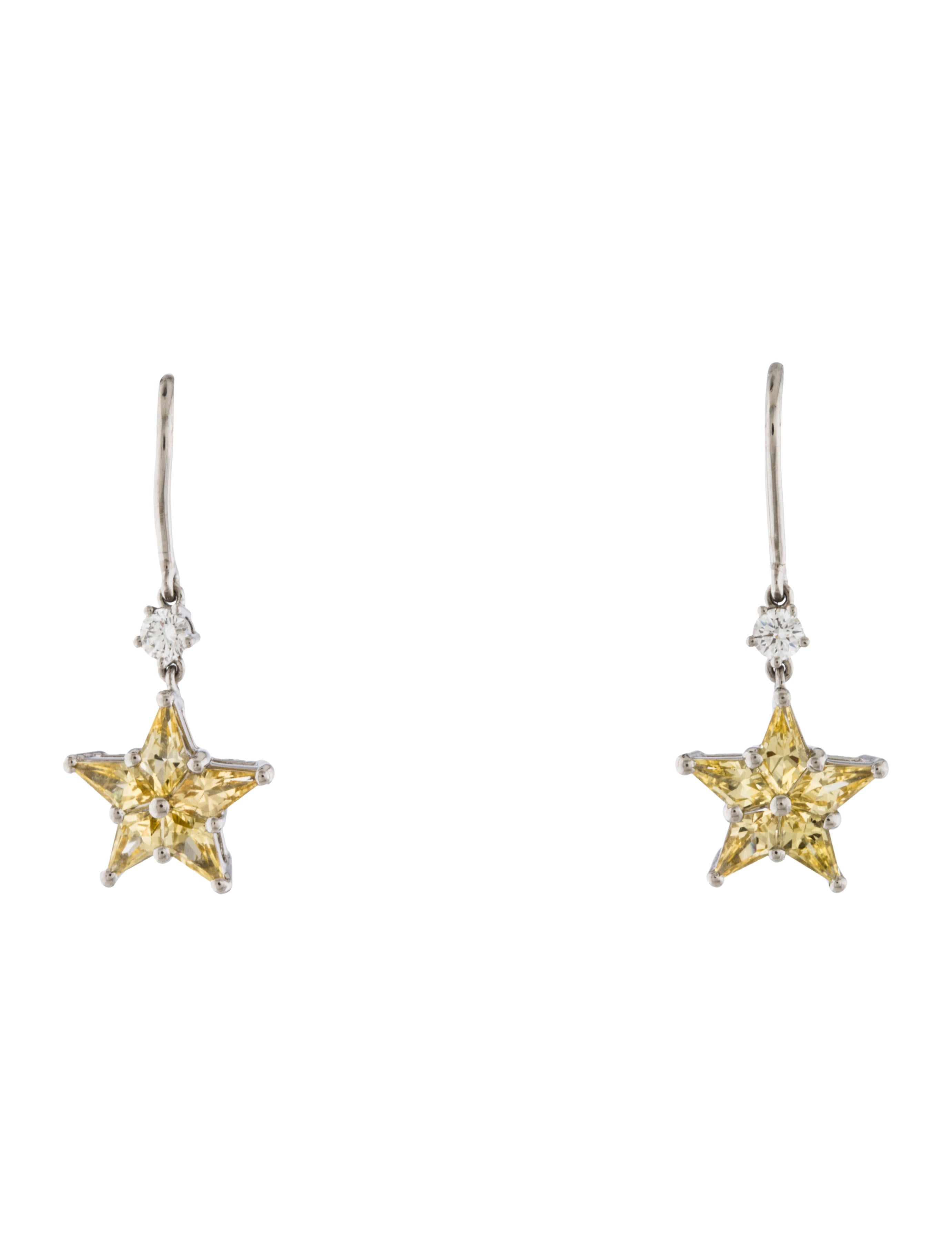 tiffany co yellow sapphire diamond star drop earrings. Black Bedroom Furniture Sets. Home Design Ideas