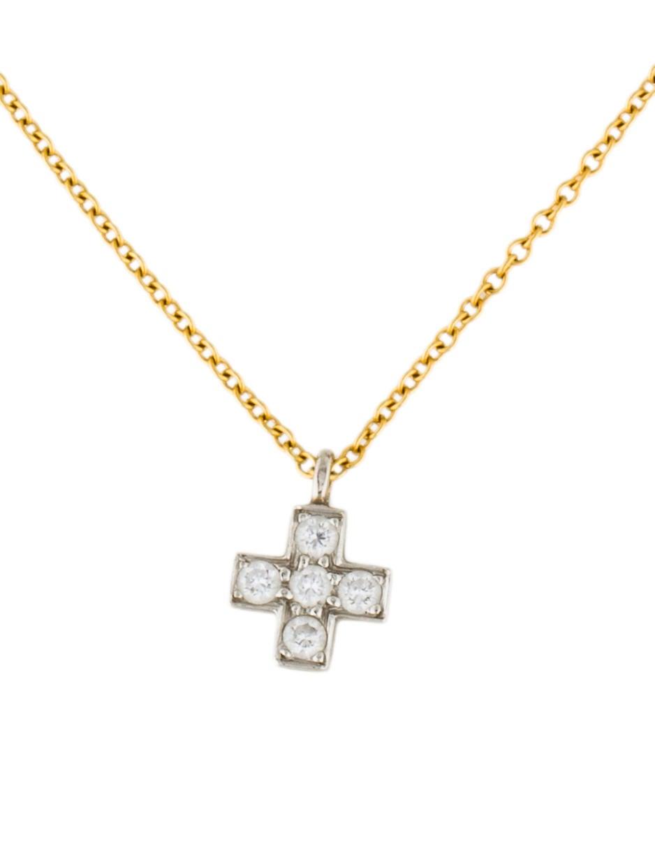 Tiffany co platinum 18k diamond mini cross necklace for Black and blue jewelry cross necklace