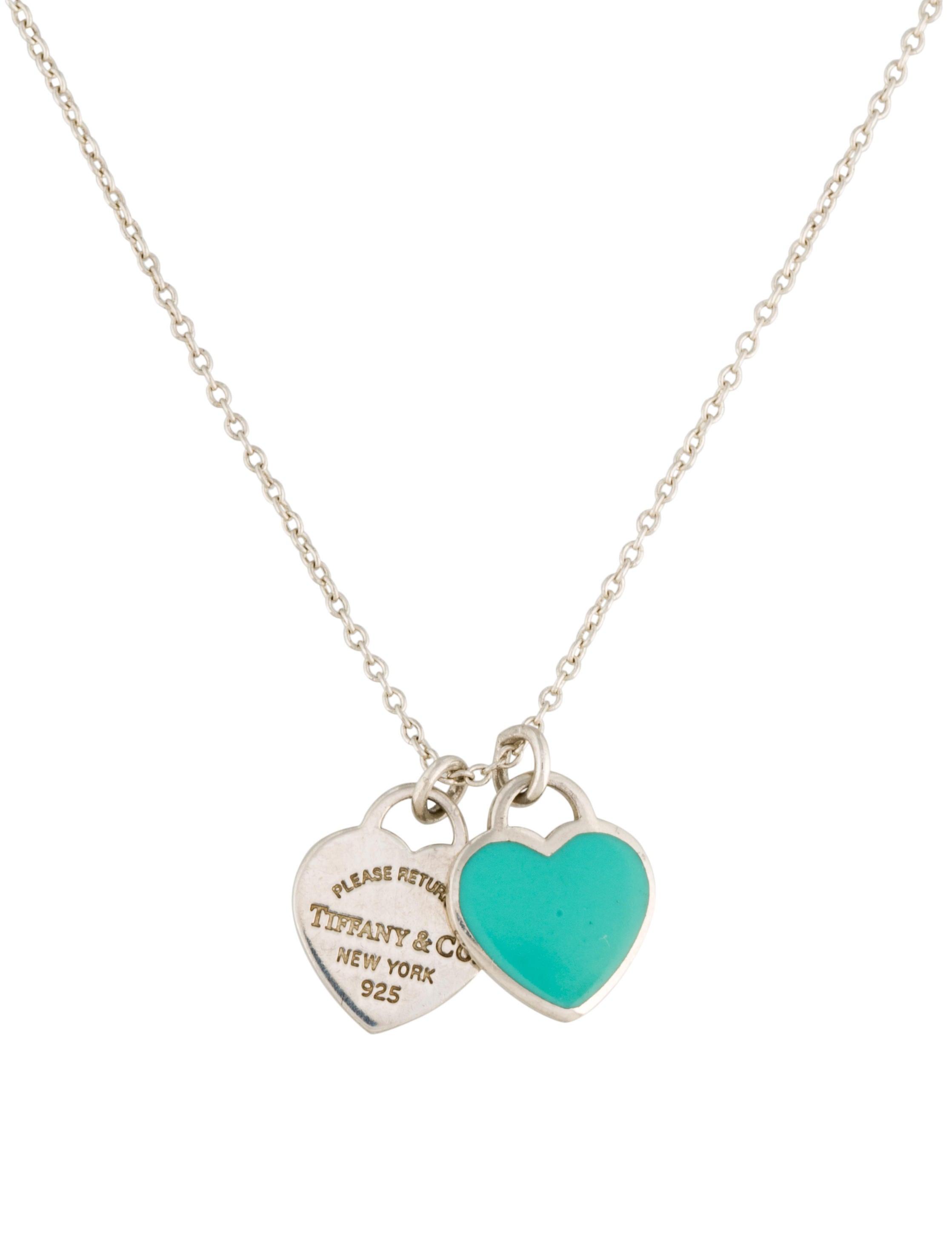Tiffany Amp Co Mini Double Heart Tag Pendant Necklace