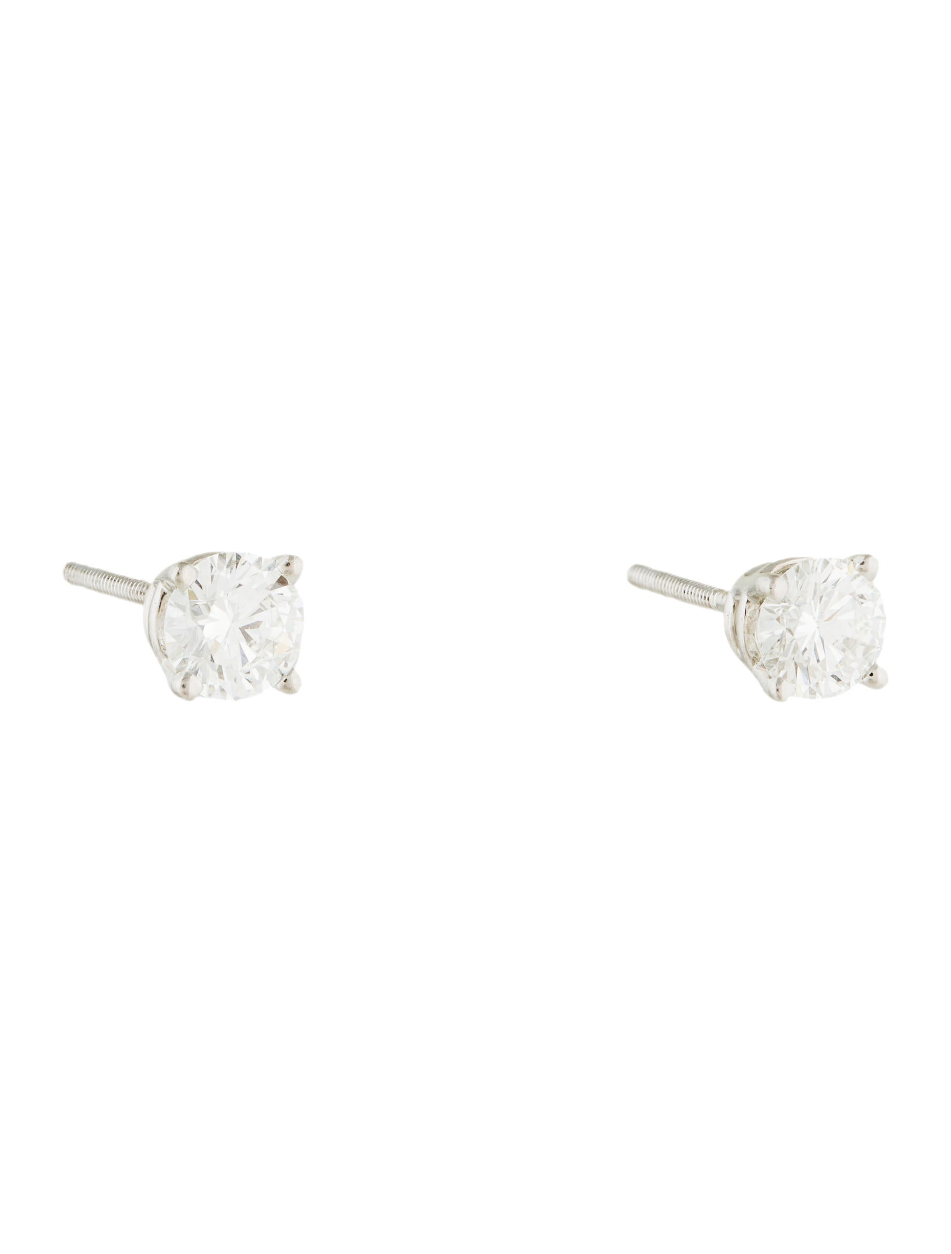 gold jewellery set in claw round brilliant stud white studs solitaire diamond earrings platinum