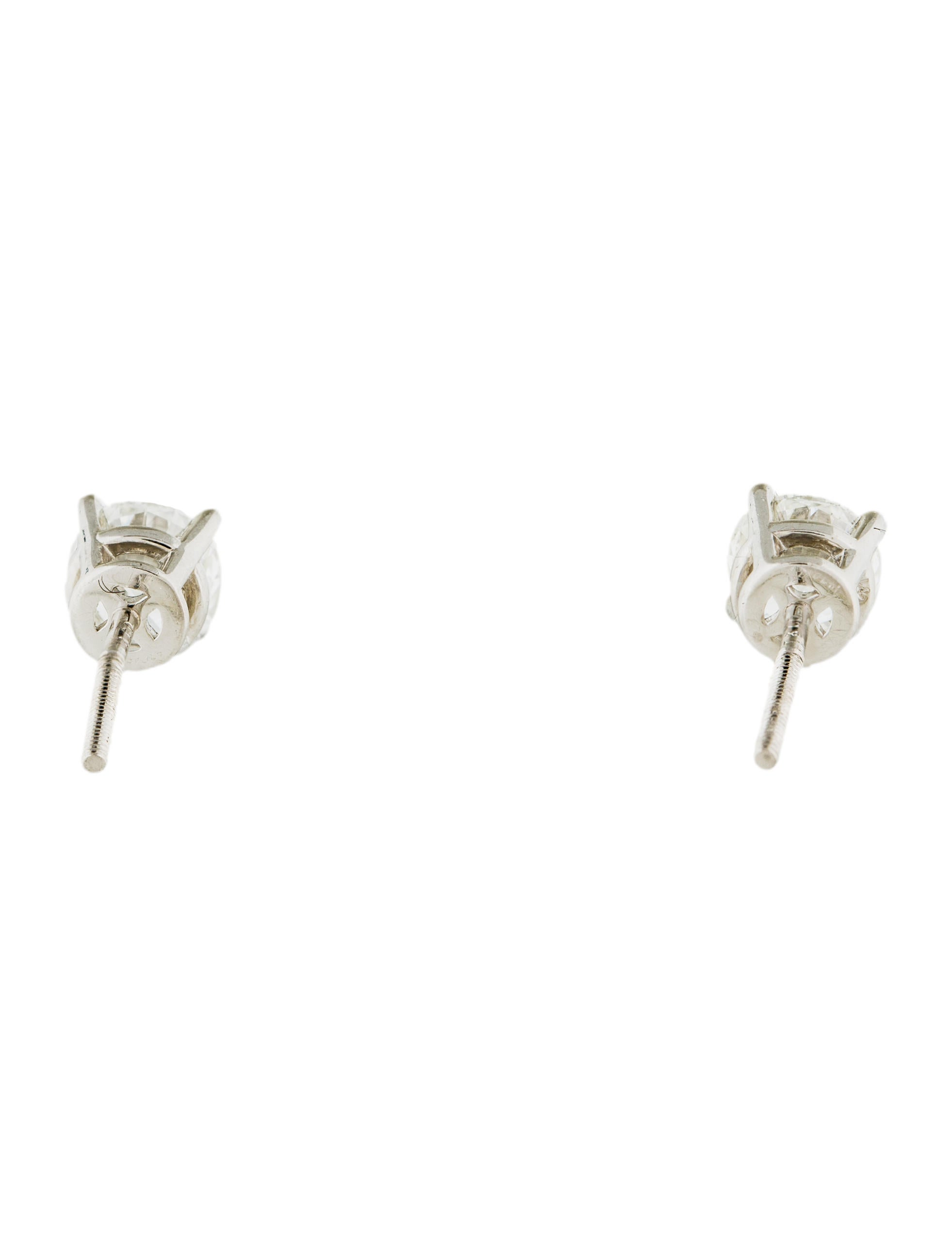 studs stud solitaire rounbd white earrings diamond gold
