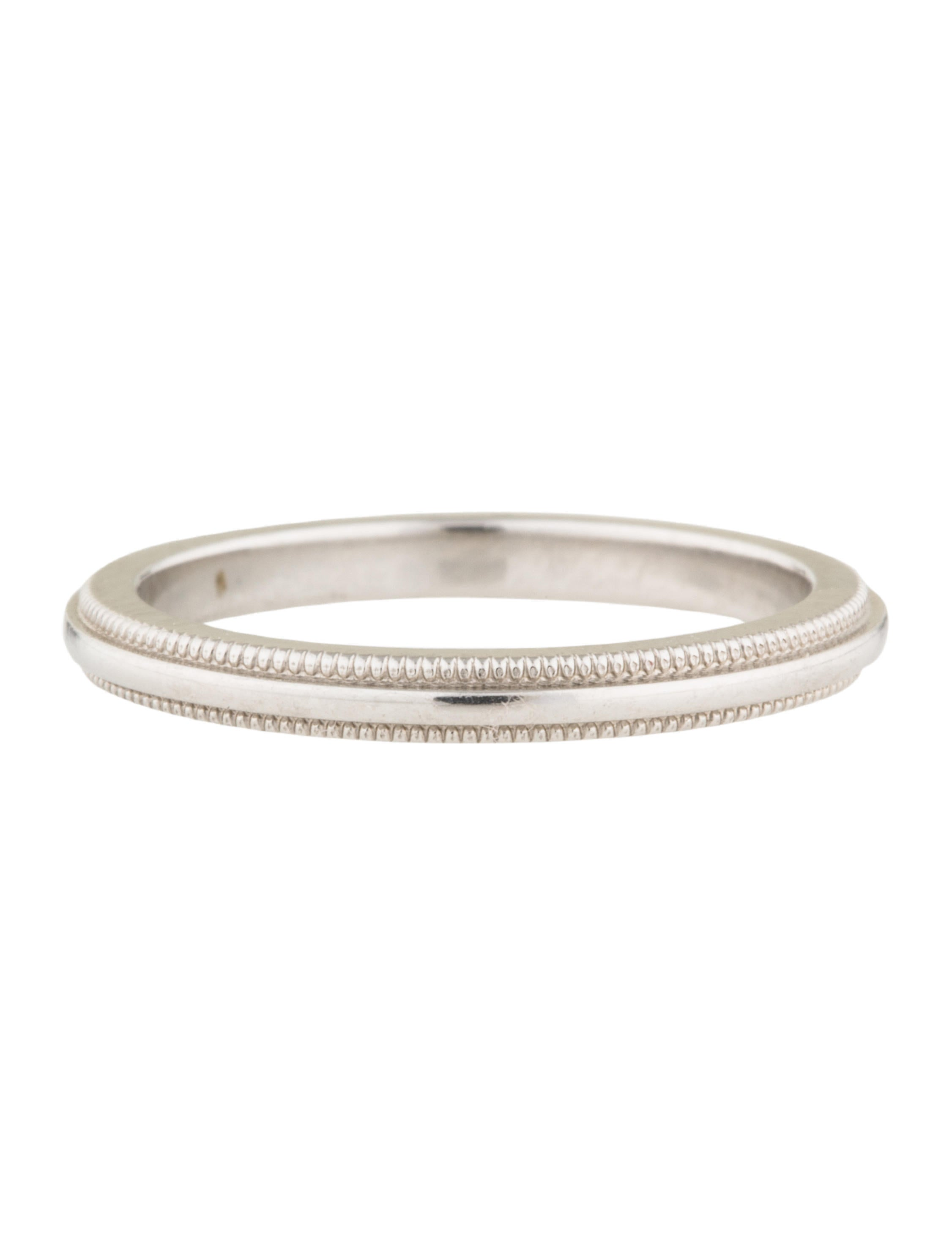 co co platinum milgrain wedding band
