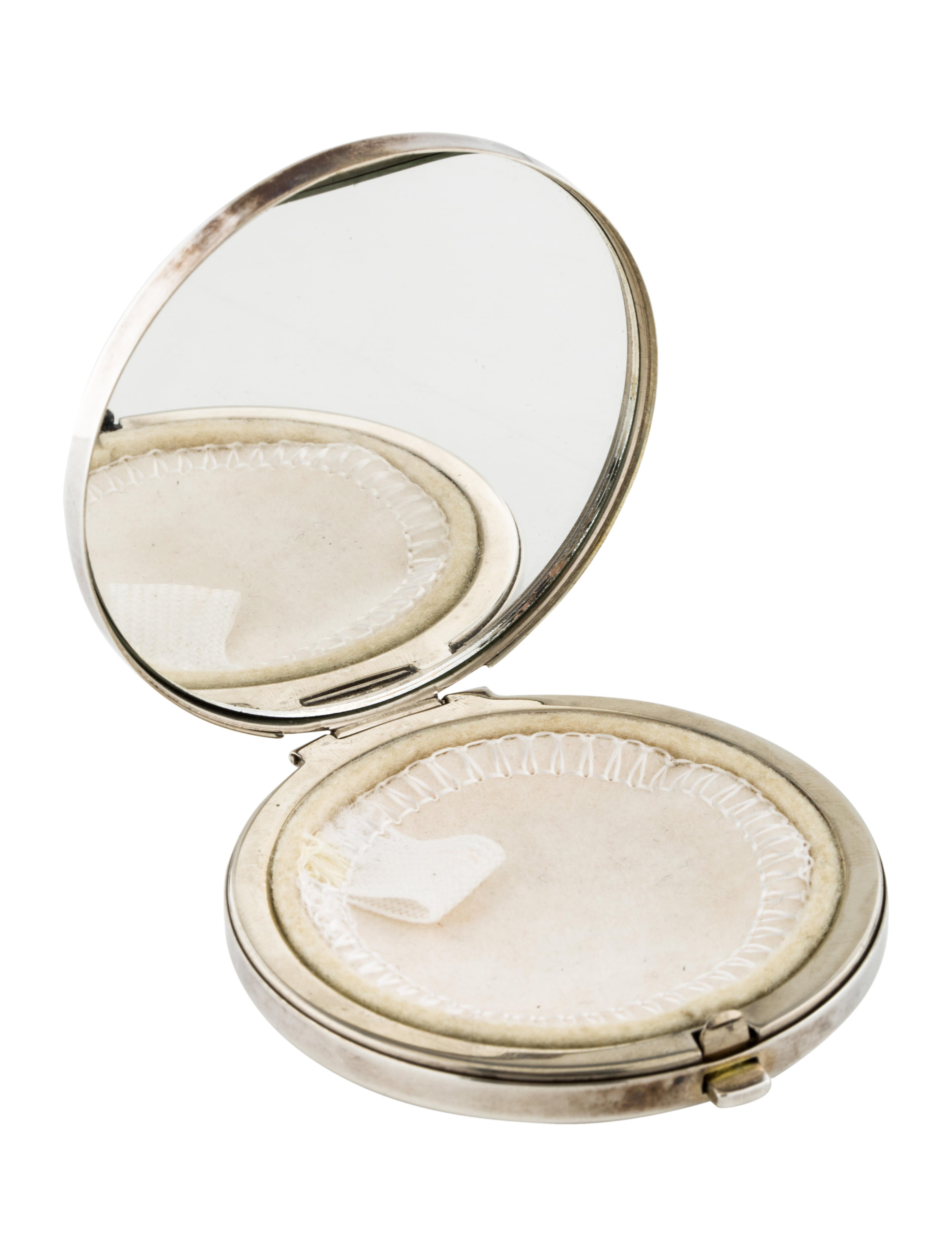 Tiffany co sterling silver makeup compact decor and for Artistic accents genuine silver decoration