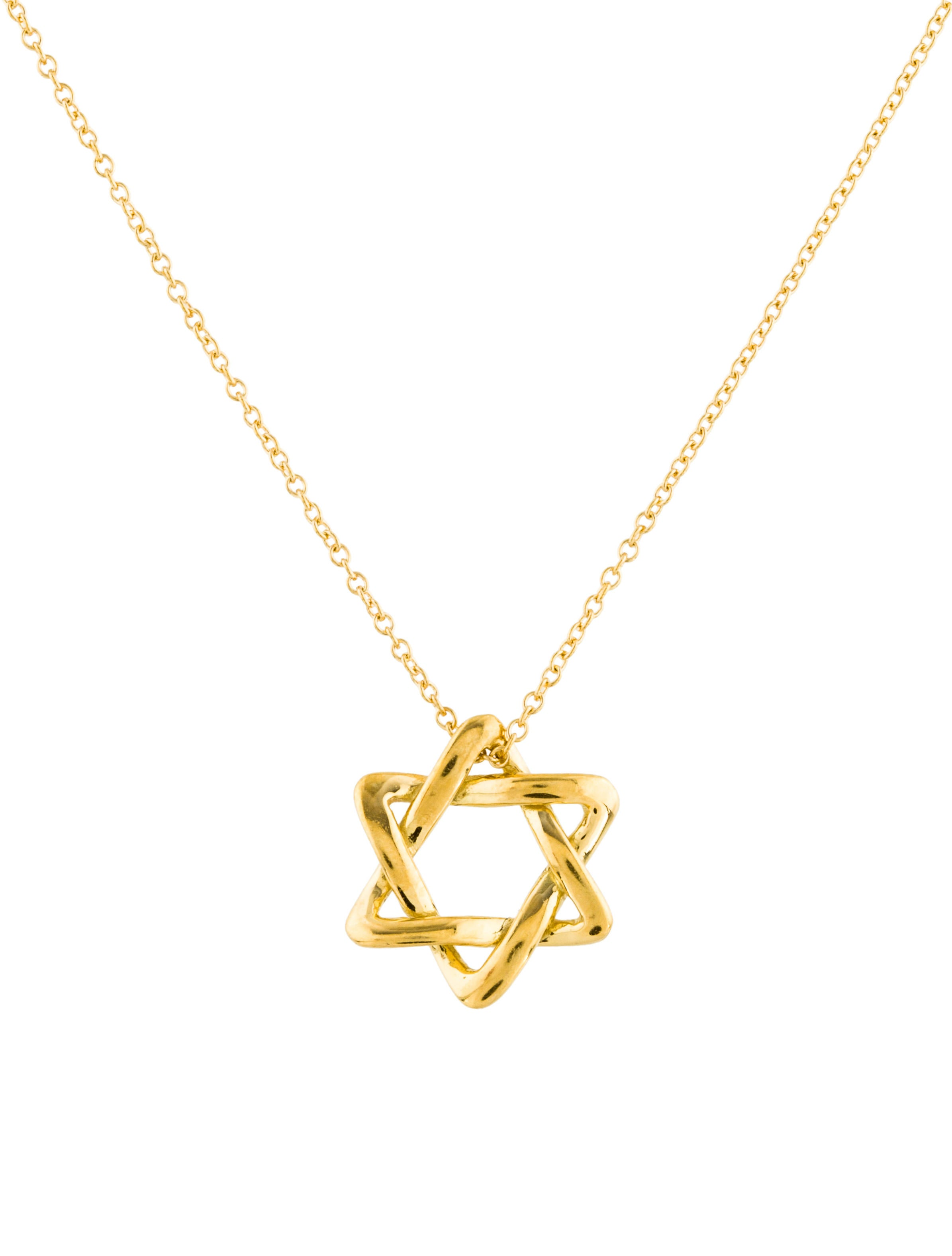 Tiffany co 18k star of david pendant necklace for Star of david necklace mens jewelry