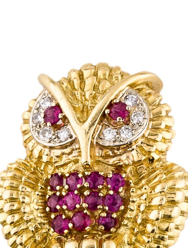 Tiffany Amp Co 18k Diamond Amp Ruby Owl Brooch Brooches