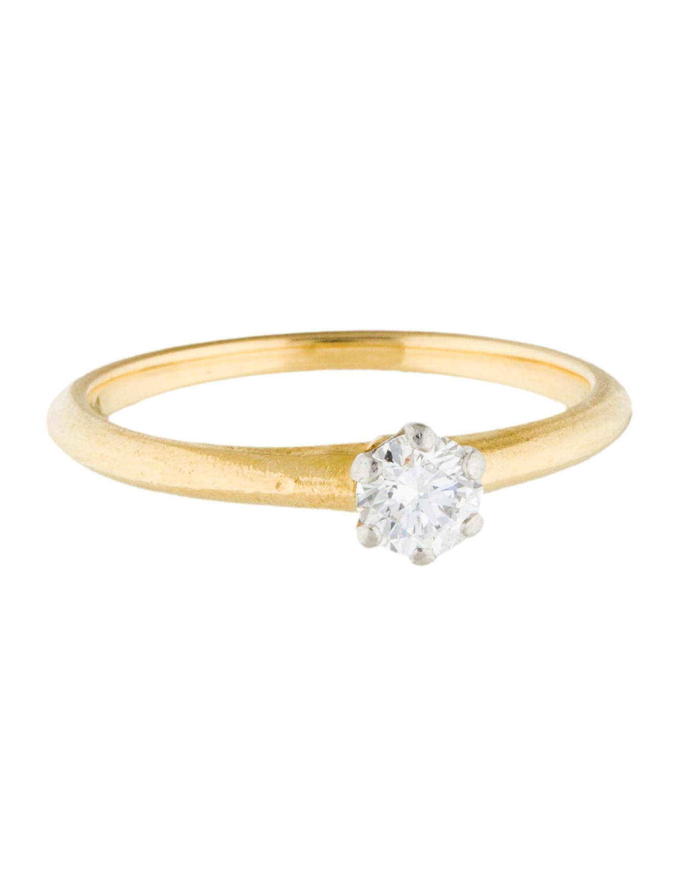 Tiffany co 18k diamond solitaire engagement ring for Wedding ring companies