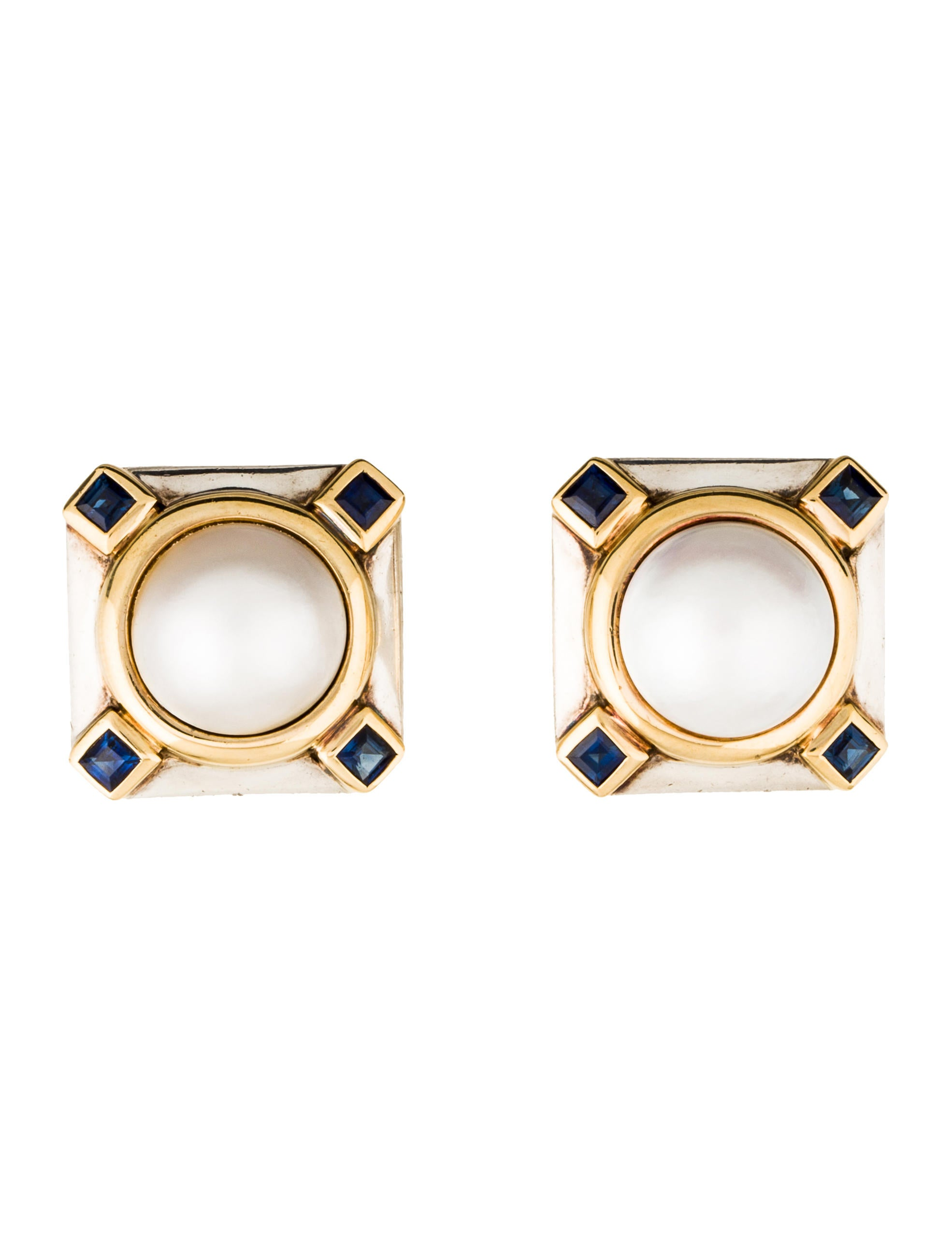 tiffany co mab pearl sapphire clip on earrings. Black Bedroom Furniture Sets. Home Design Ideas