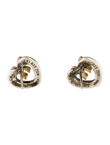 Tiffany & Co. Two-Tone Heart & Bow Stud Earrings ...