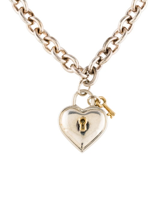 4eae6a9d5 Tiffany & Co. Two-Tone Heart Lock & Key Pendant Necklace - Necklaces ...