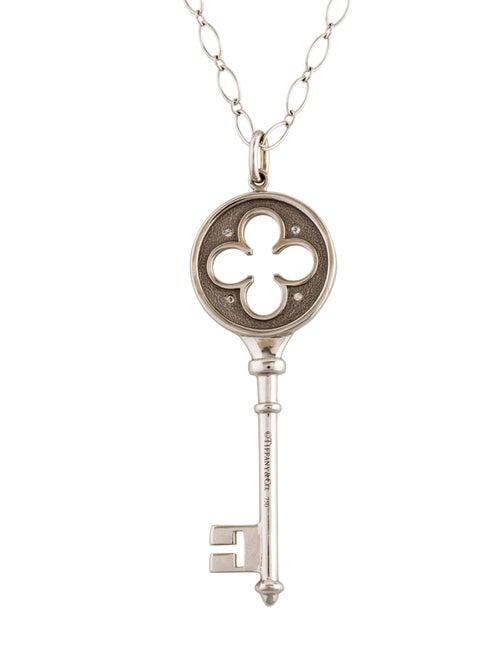 01d03775d Tiffany & Co. 18K Diamond Clover Key Pendant Necklace - Necklaces ...