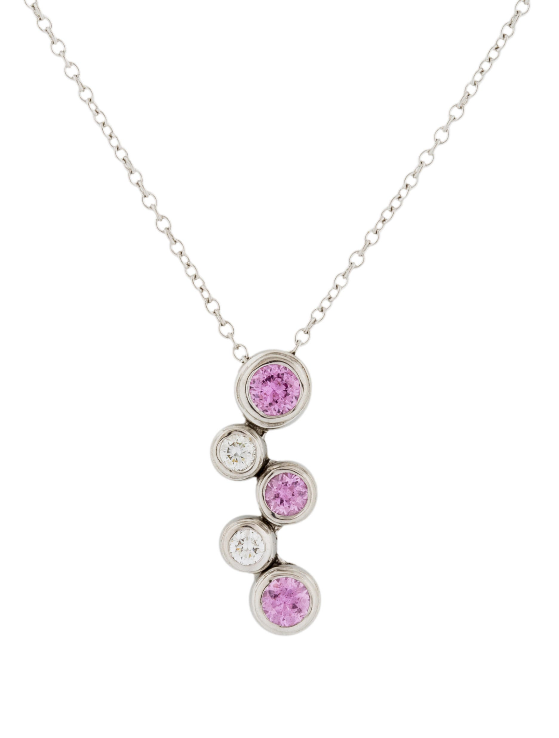 tiffany amp co pink sapphire amp diamond bubble pendant