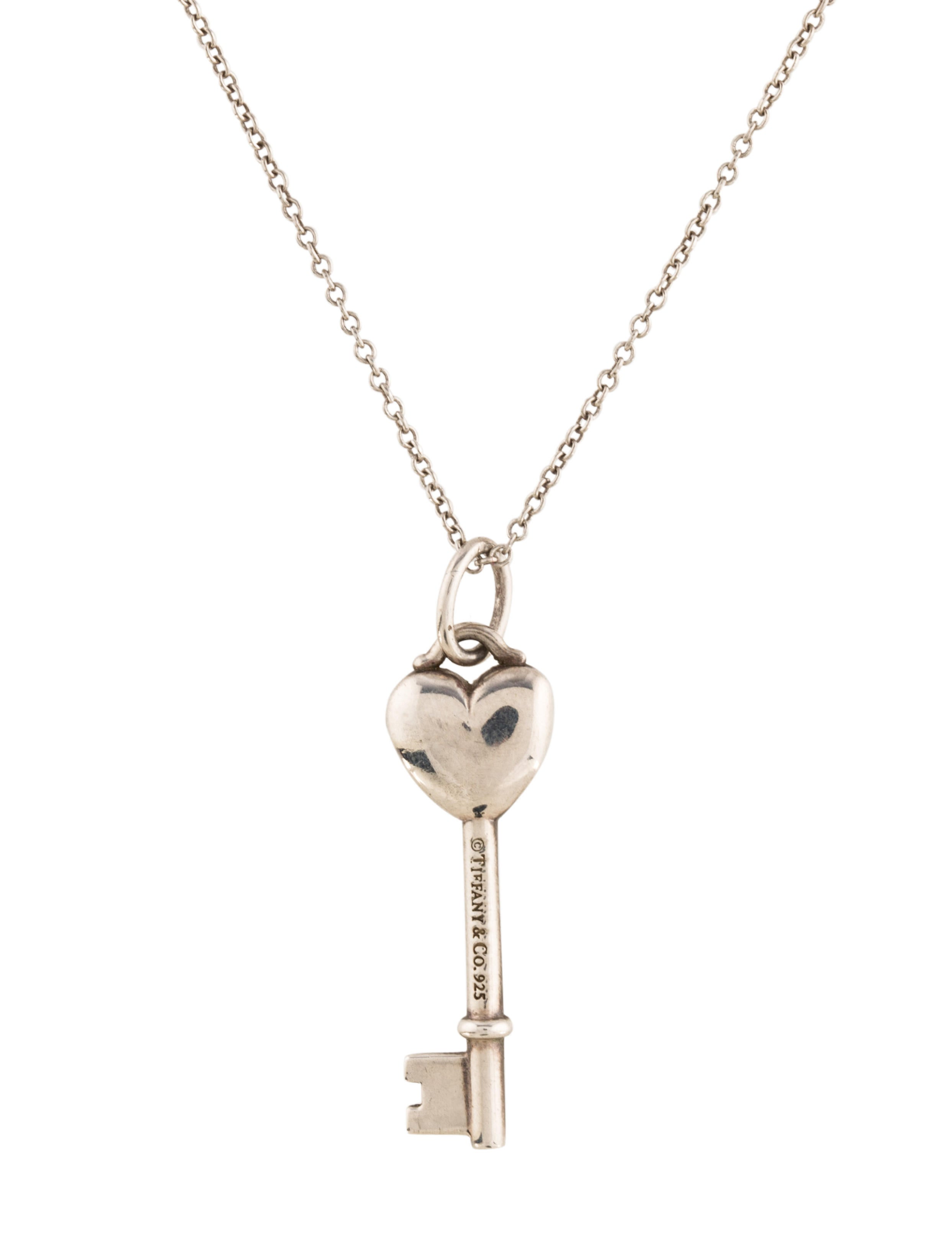 Tiffany co diamond heart key pendant necklace necklaces diamond heart key pendant necklace mozeypictures Images