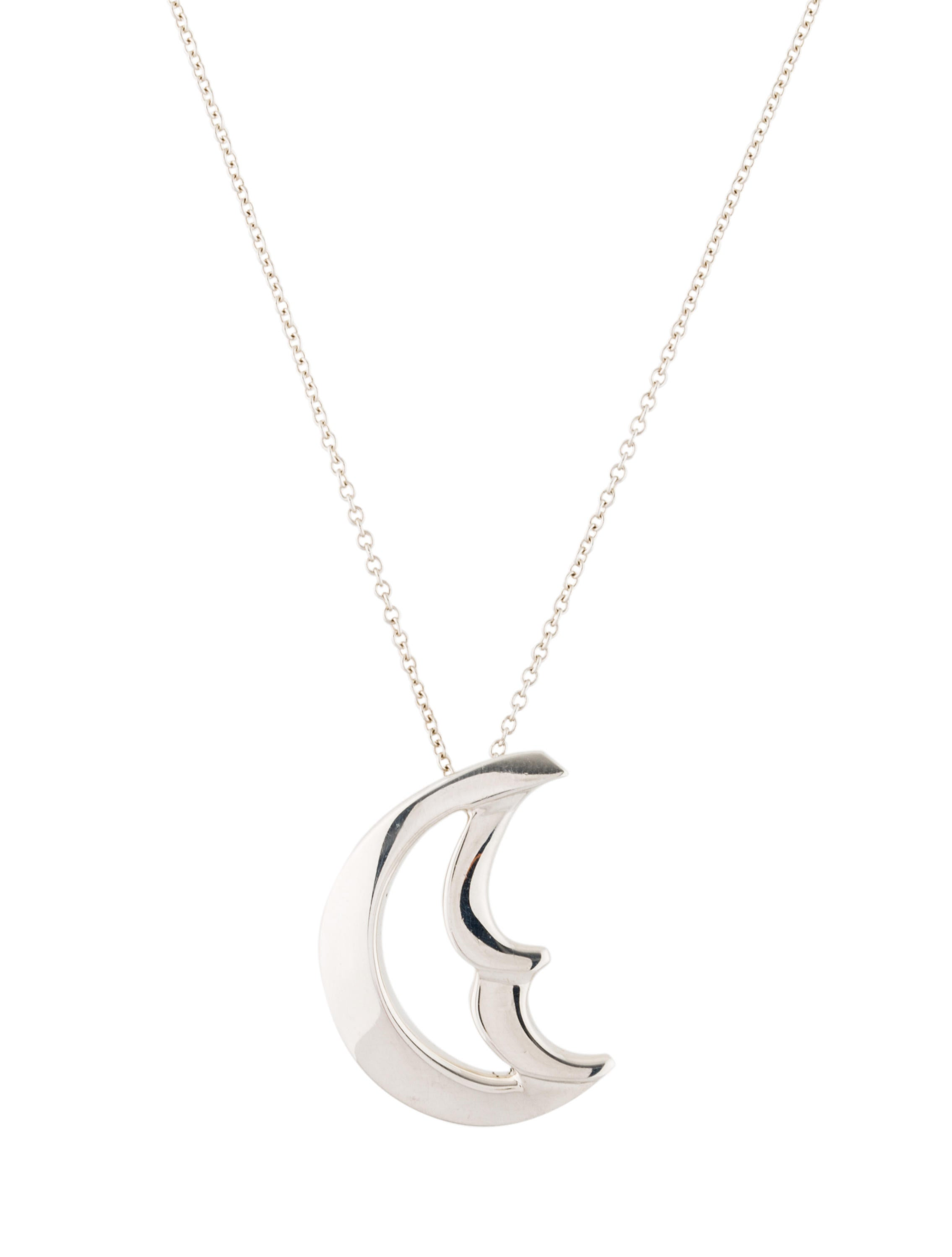 collar moon pendant necklace silver luna en half price plata necklaces p