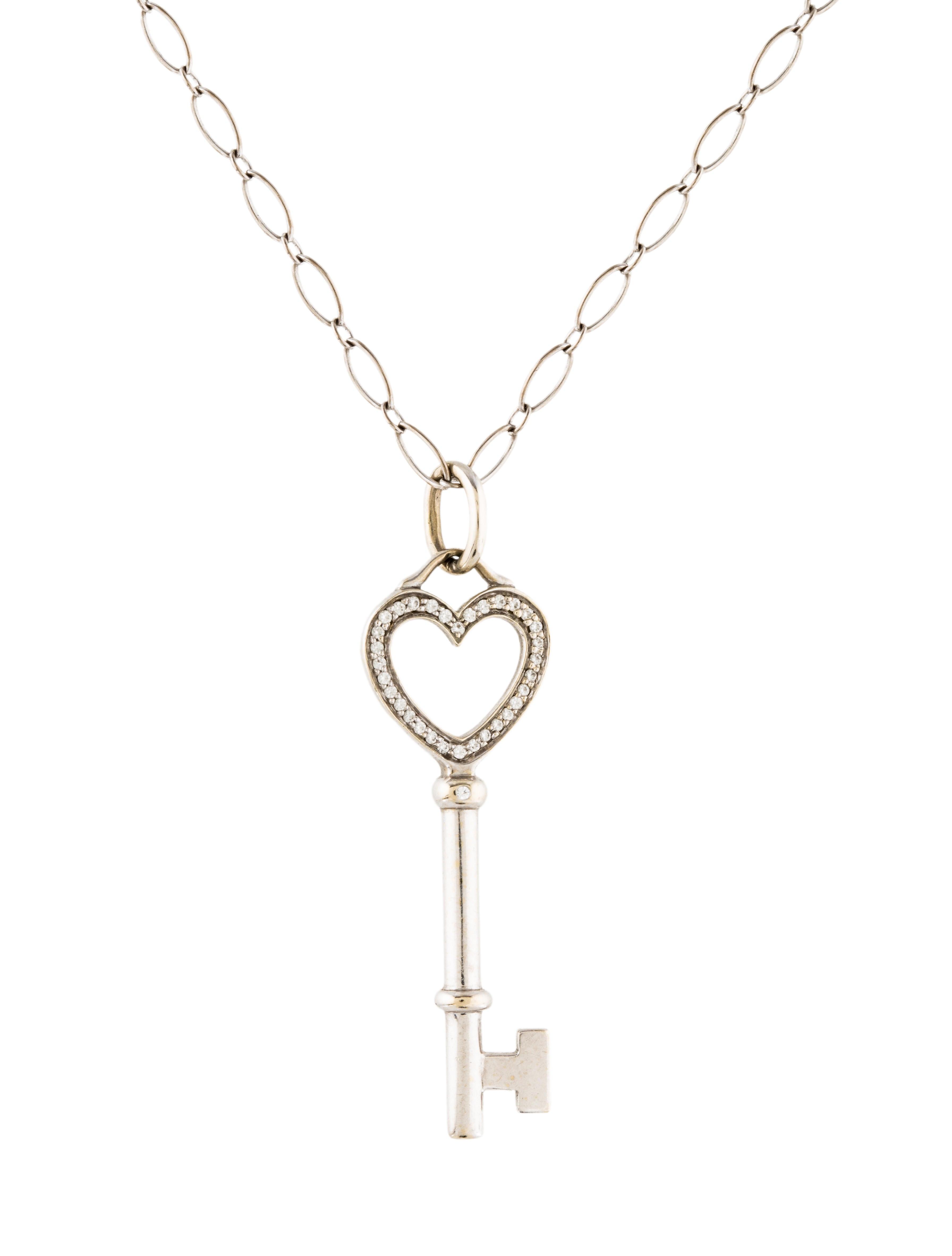 Tiffany co 18k diamond heart key pendant necklace necklaces 18k diamond heart key pendant necklace mozeypictures Images