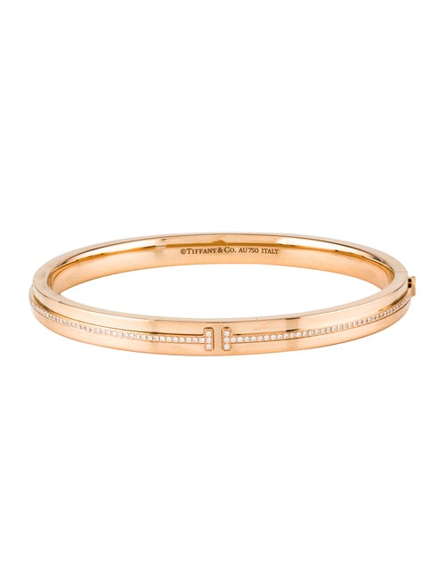 512103641 Tiffany & Co. 18K Diamond T Two Hinged Bracelet - Bracelets ...