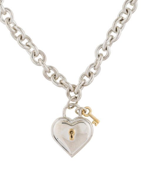 2d5dcb040 Tiffany & Co. Two-Tone Heart Lock & Key Pendant Necklace - Necklaces ...