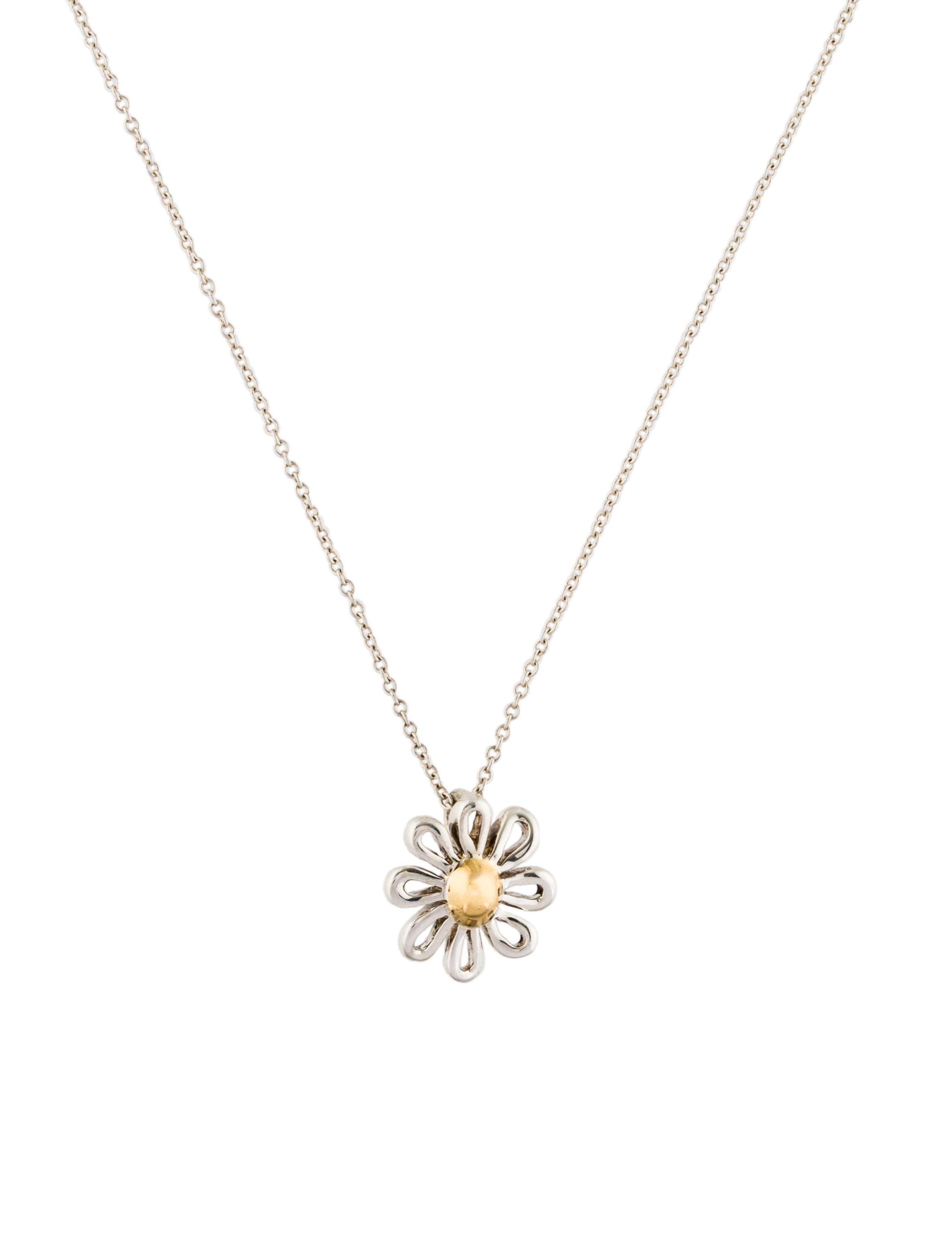 sterling pendant style silver pretty designer daisy necklace