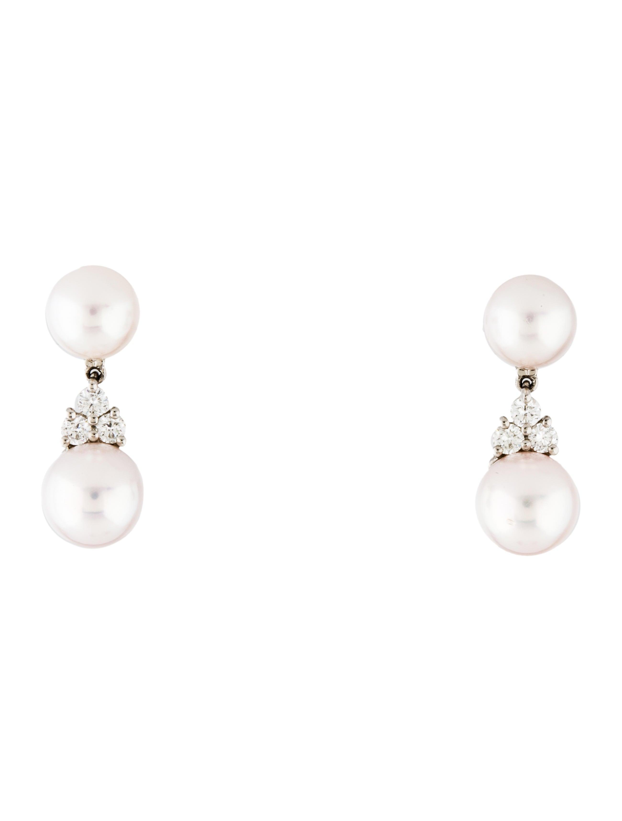 Tiffany Co Platinum Pearl Diamond Aria Drop Earrings Tif69190 The Realreal