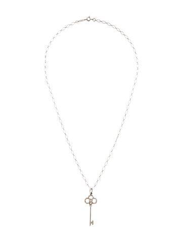 8ba66a2bb Tiffany & Co. 18K Diamond Crown Key Pendant Necklace - Necklaces - TIF70381  | The RealReal
