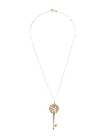 Tiffany co 18k diamond petals key pendant necklace necklaces 18k diamond petals key pendant necklace aloadofball Image collections