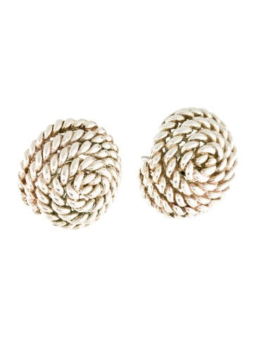 Coiled Rope Silver Earrings