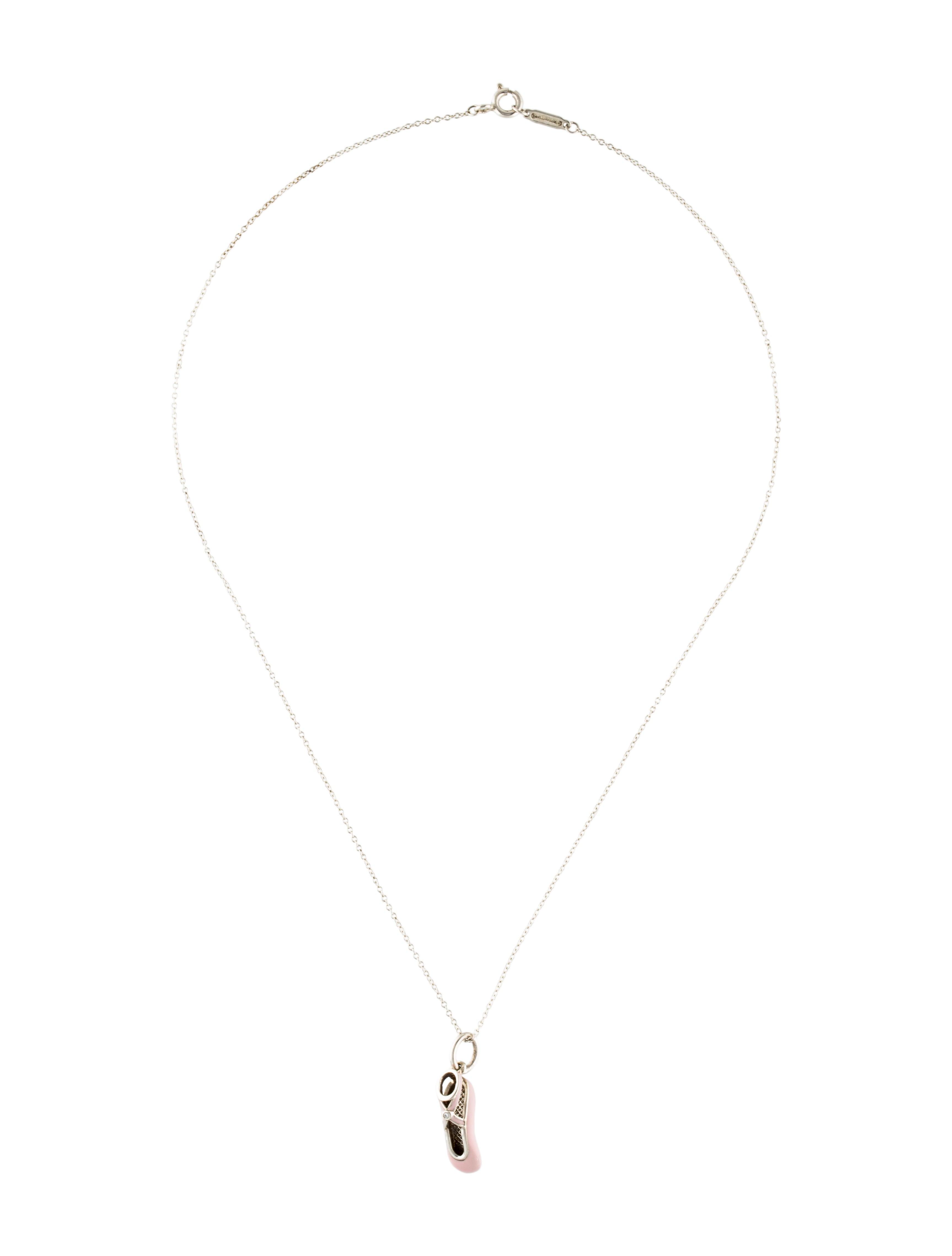 Tiffany co diamond enamel ballet slipper pendant necklace diamond enamel ballet slipper pendant necklace aloadofball Image collections