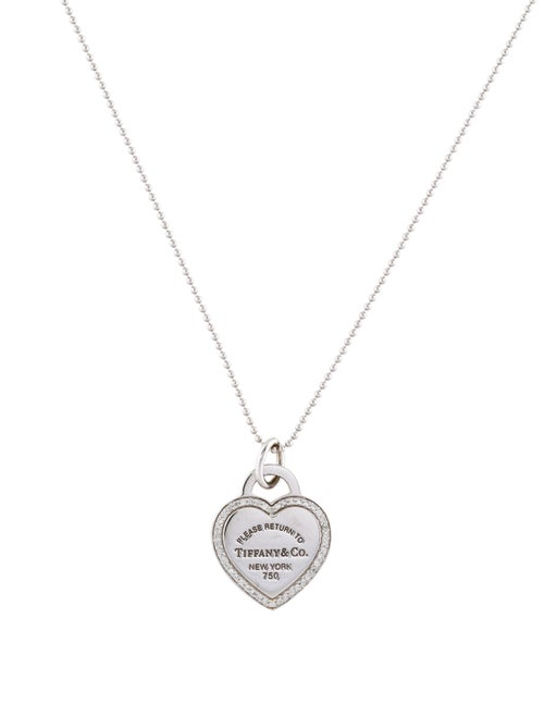 cc68c8f7e Tiffany & Co. 18K Diamond Heart Tag Charm Necklace - Necklaces ...