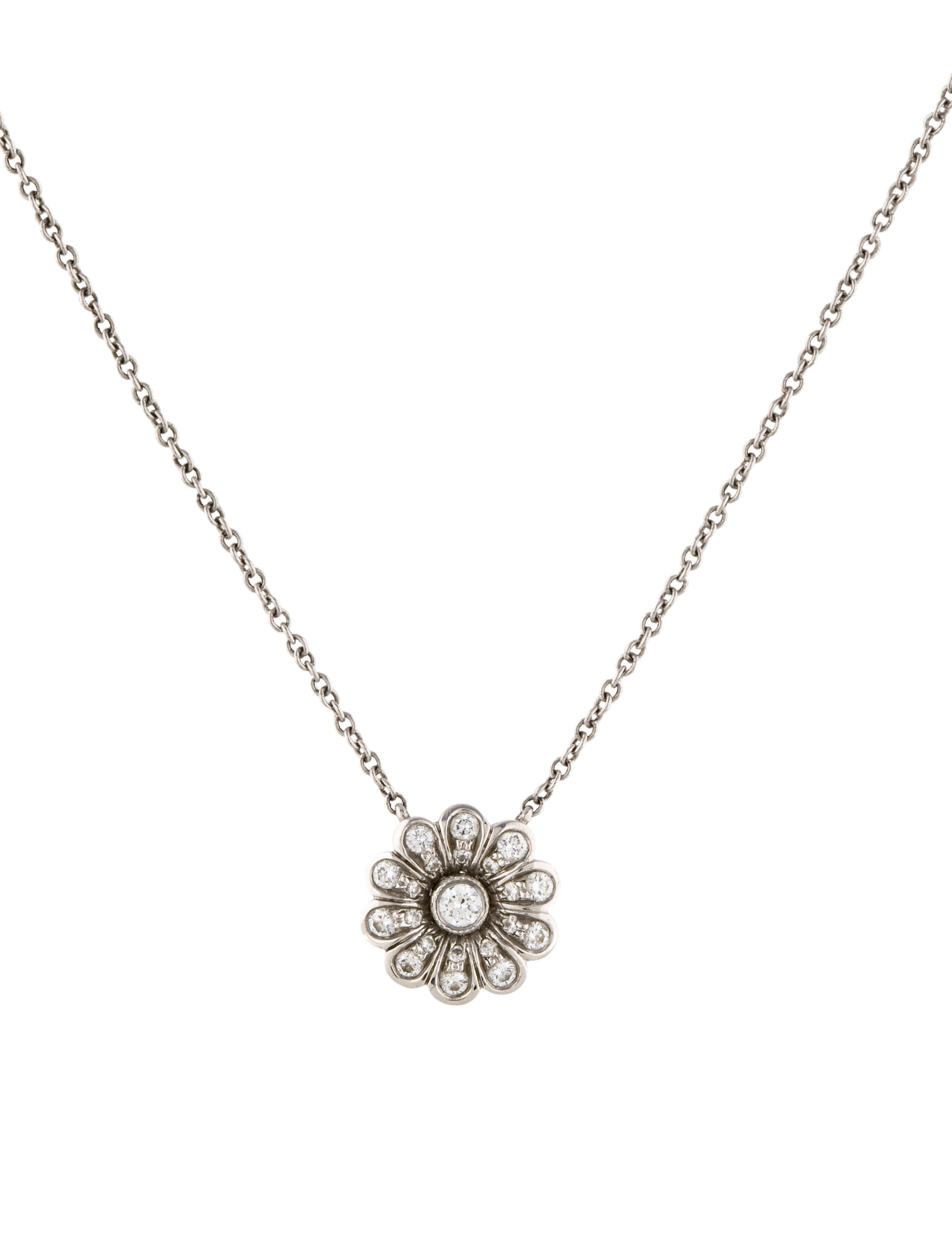 9e20b535b Tiffany & Co. Platinum Diamond Flower Pendant Necklace - Necklaces ...