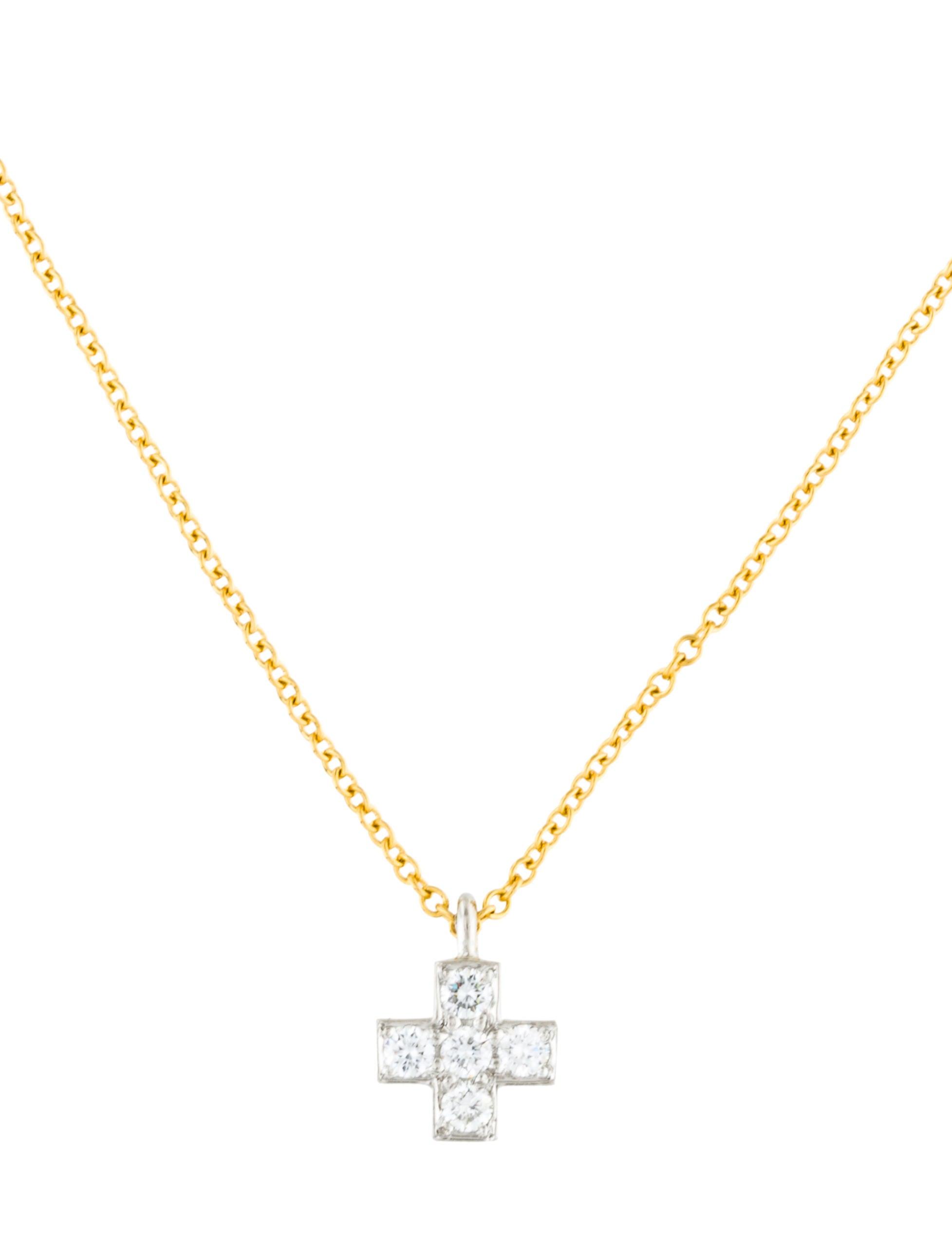 19635c37f Tiffany & Co. Platinum & 18K Mini Diamond Cruciform Pendant Necklace ...