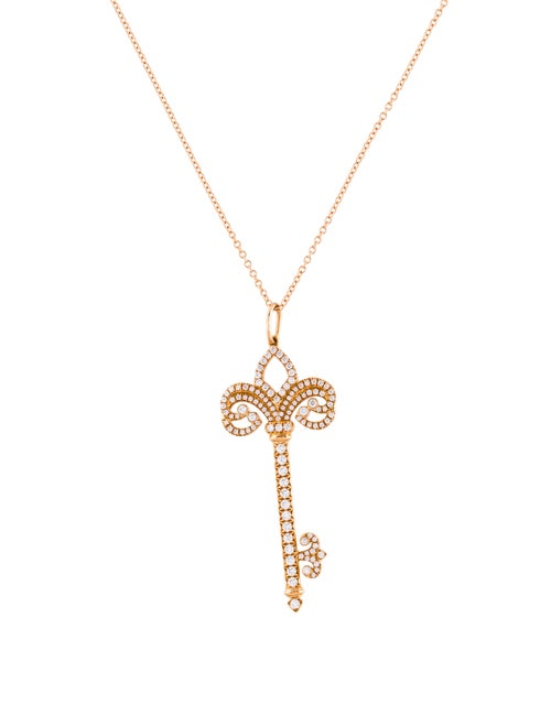 a14d07e71 Tiffany & Co. 18K Diamond Fleur de Lis Key Pendant Necklace ...