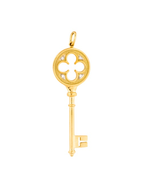 8b9542cf5 Tiffany & Co. 18K Diamond Clover Key Pendant - Necklaces - TIF98904 ...