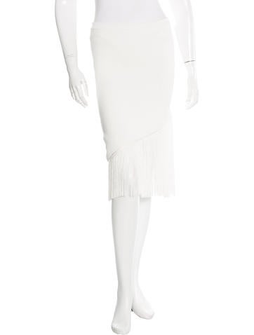 Timo Weiland Fringe-Trimmed Knee-Length Skirt w/ Tags None