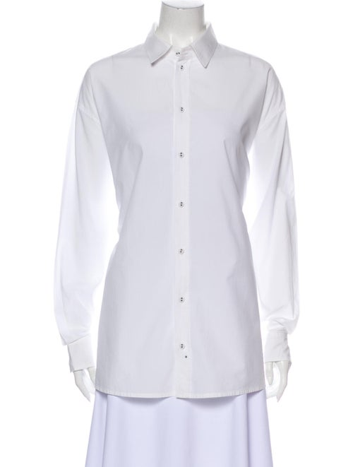 Tomas Maier Long Sleeve Button-Up Top White