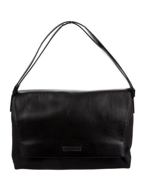 Tumi Leather-Trimmed Nylon Shoulder Bag Black