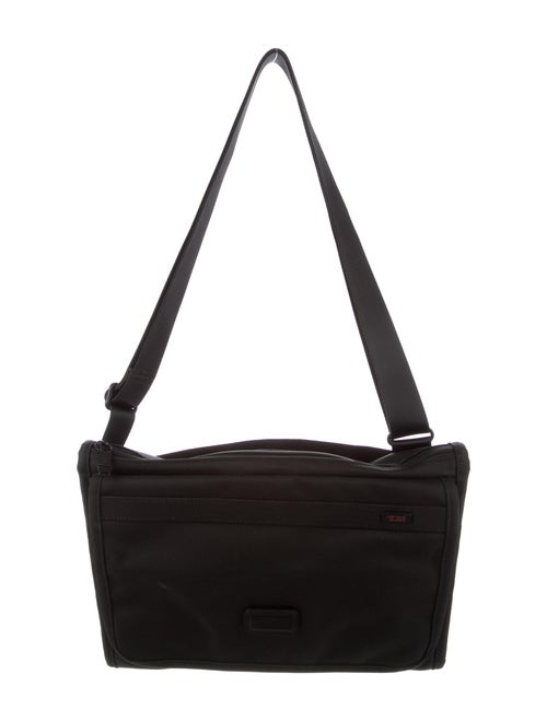Tumi Leather-Trimmed Messenger Bag Black