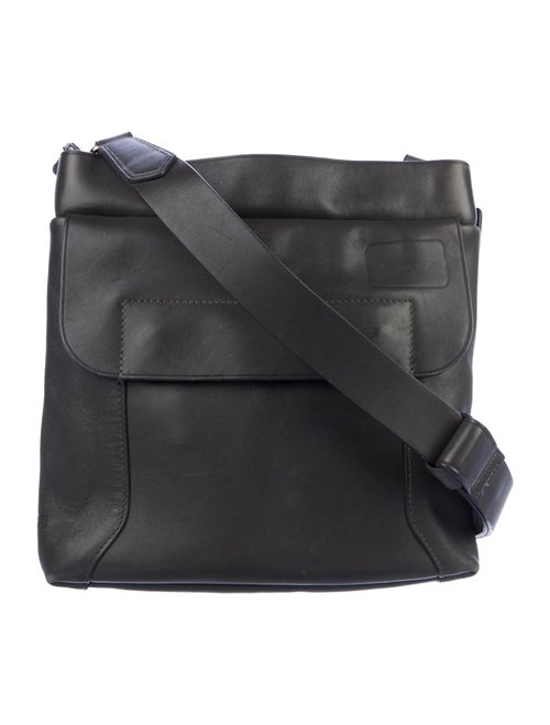 Tumi Leather Messenger Bag Grey