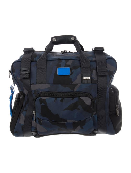 Tumi Leather-Trimmed Camouflage Weekender Blue