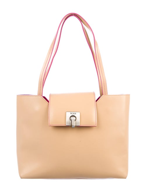 Tumi Smooth Leather Tote Silver