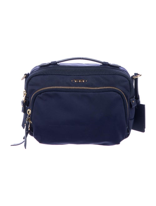 Tumi Leather-Trimmed Crossbody Bag Blue