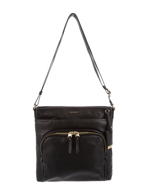 Tumi Leather Messenger Bag Black