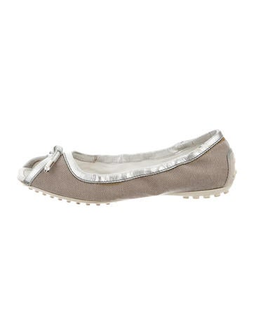 tod s canvas peep toe flats shoes tod32984 the realreal