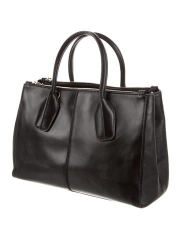 D Cube Double-Zip Leather Tote
