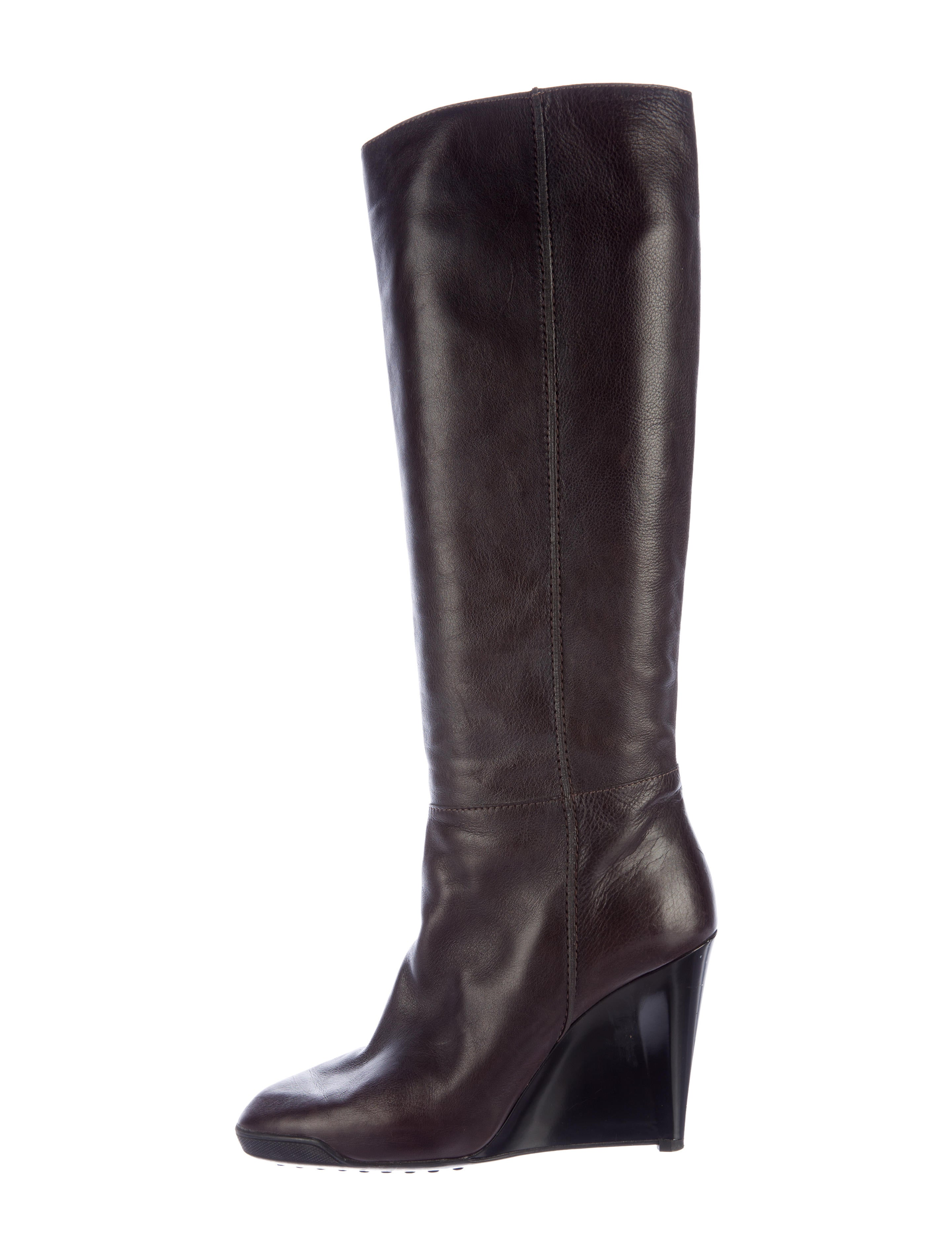 tod s leather wedge boots shoes tod37966 the realreal