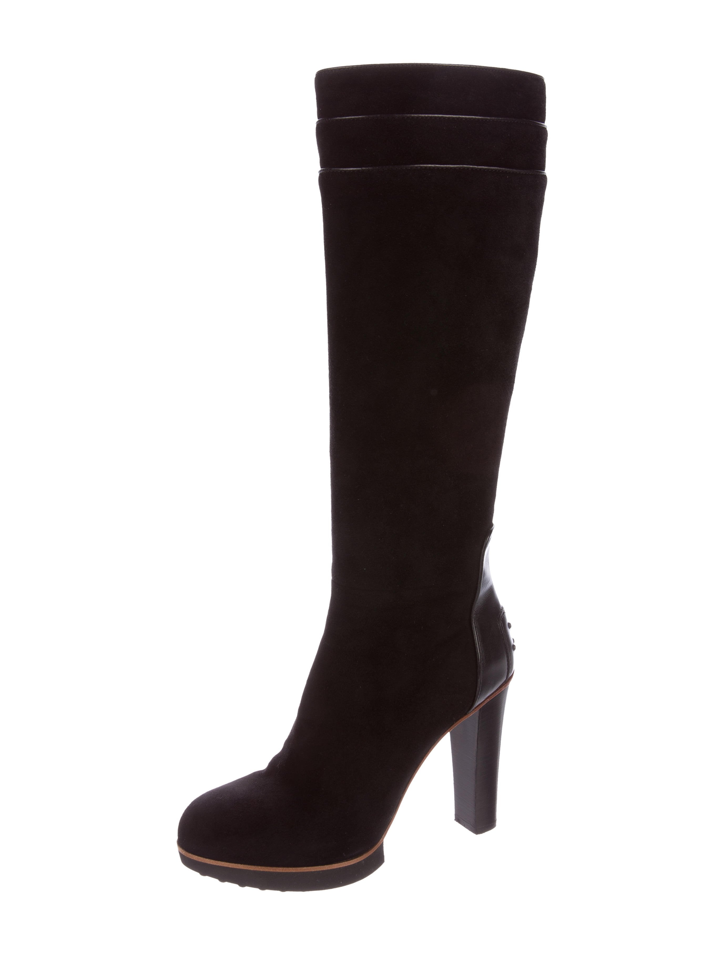 tod s suede knee high boots shoes tod37967 the realreal