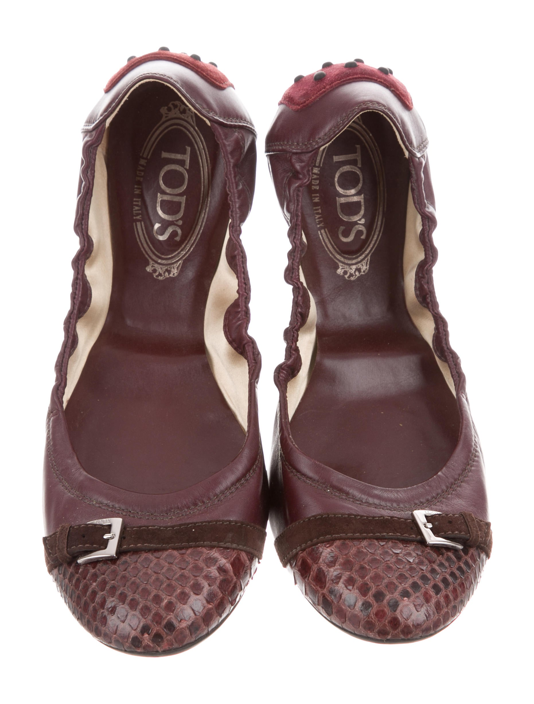 Tod's Leather Python-Trimmed Flats sast cheap price wiki online cheap fashion Style scK9oOcych