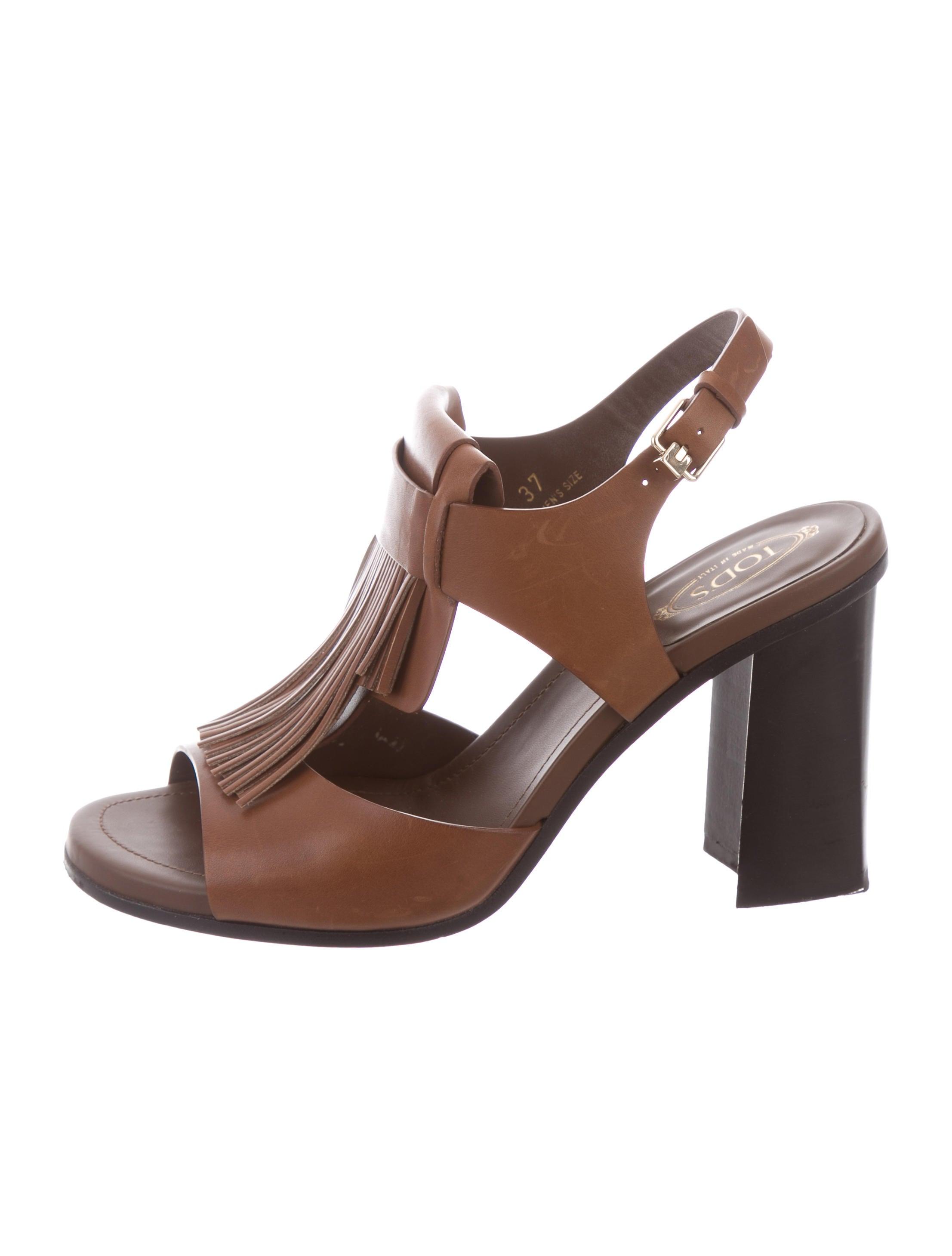 Tod's Ankle Strap Fringe-Trimmed Sandals visa payment for sale MPmKKK