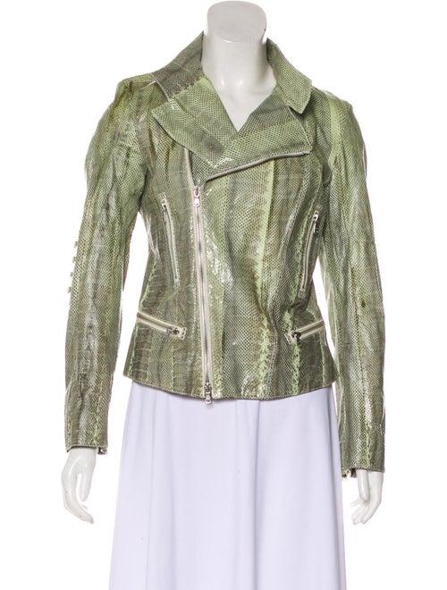 Tod's Snakeskin Zip Jacket Green