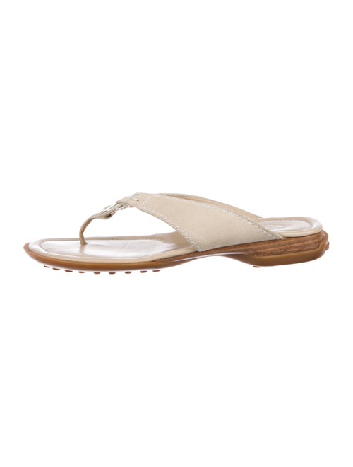 Tod's Suede Thong Sandals Tan